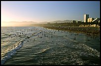 Beach seen from the pier, late afternoon. Santa Monica, Los Angeles, California, USA