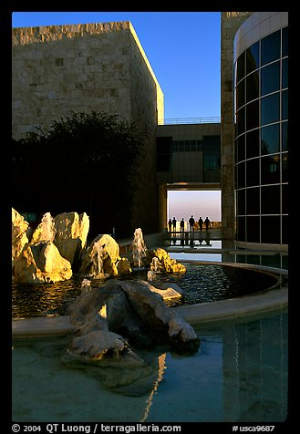 Courtyard, Getty Museum, Brentwood. Los Angeles, California, USA (color)