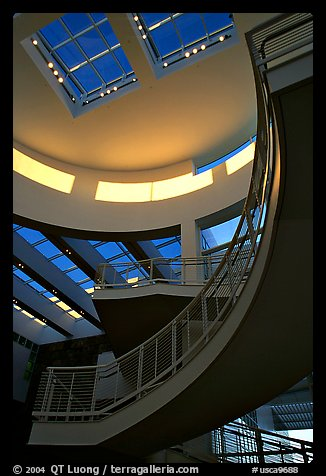 Interior of Entrance Hall, sunset, Getty Museum, Brentwood. Los Angeles, California, USA (color)