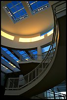 Interior of Entrance Hall, sunset, Getty Museum. Brentwood, Los Angeles, California, USA ( color)