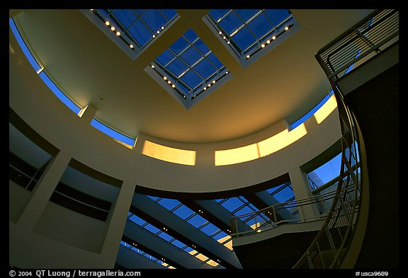 Interior of Entrance Hall of Museum, sunset, Getty Center, Brentwood. Los Angeles, California, USA (color)