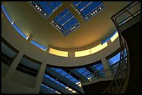 Interior of Entrance Hall of Museum, sunset, Getty Center. Brentwood, Los Angeles, California, USA ( color)
