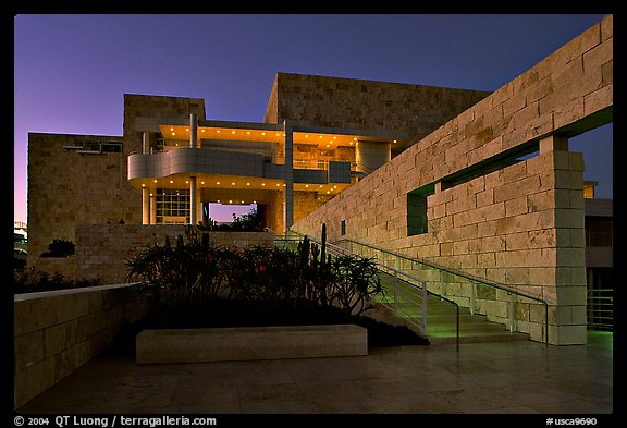 Getty Museum at dusk, Brentwood. Los Angeles, California, USA (color)