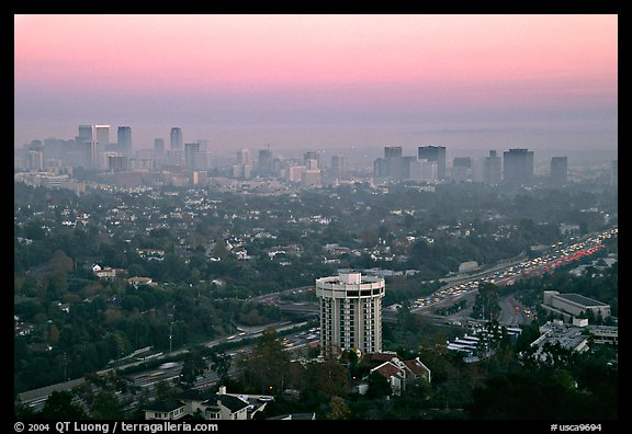Los Angeles skyline seen from Brentwood at dusk. Los Angeles, California, USA (color)