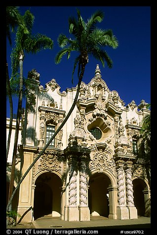 Casa Del Prado, afternoon, Balboa Park. San Diego, California, USA (color)