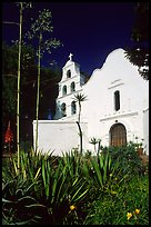 Agaves and front of Mission San Diego de Alcala. San Diego, California, USA ( color)