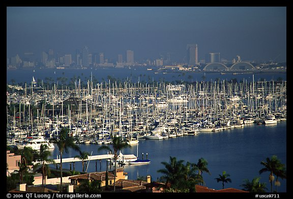Harbor and skyline. San Diego, California, USA (color)
