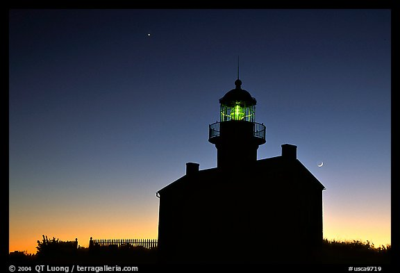 Old Point Loma Lighthouse, dusk. San Diego, California, USA