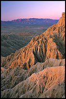 Eroded badlands at sunrise, Font Point. Anza Borrego Desert State Park, California, USA ( color)