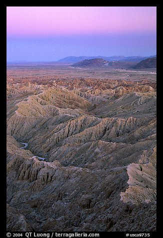 Badlands at dusk, Font Point. Anza Borrego Desert State Park, California, USA (color)