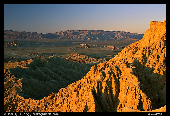 Eroded badlands at sunrise, Font Point. Anza Borrego Desert State Park, California, USA (color)