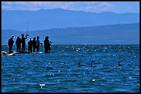 Fishermen on the shore of Salton Sea. California, USA (color)