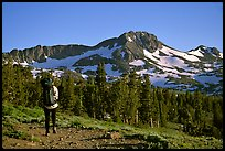 Backpacker  on trail towards Round Top. Mokelumne Wilderness, Eldorado National Forest, California, USA