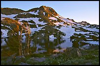 Round Top Peak and Winnemucca Lake, sunset. Mokelumne Wilderness, Eldorado National Forest, California, USA