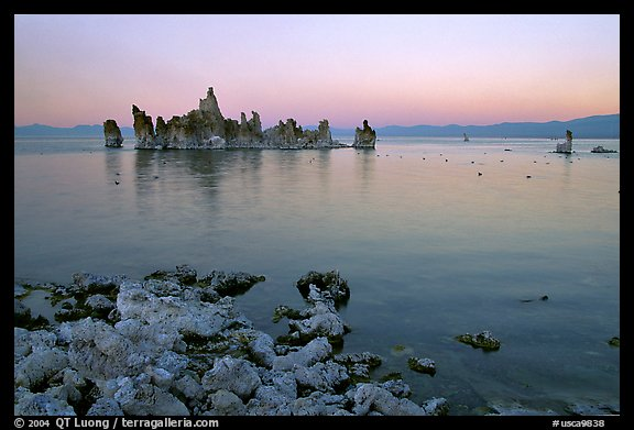 Tufa towers at dusk. Mono Lake, California, USA
