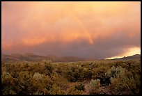 Rainbow and storm over Mono Basin, evening. Mono Lake, California, USA