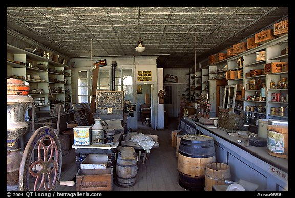 Interior of general store, Ghost Town, Bodie State Park. California, USA (color)