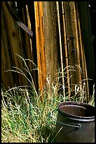 Bucket, grasses, and wall, Ghost Town, Bodie State Park. California, USA