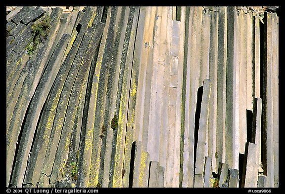 Hexagonal basalt colums, afternoon,  Devils Postpile National Monument. California, USA (color)