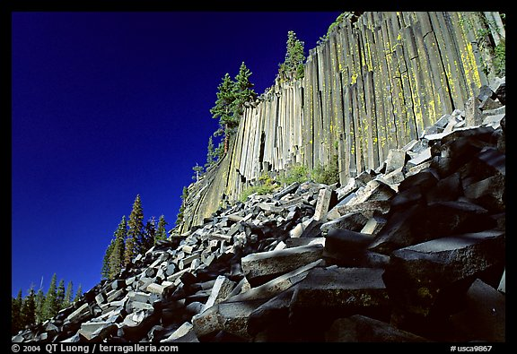 Columnar basalt, afternoon,  Devils Postpile National Monument. California, USA