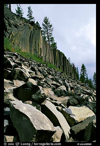 Blocks and columns of basalt, Devils Postpile National Monument. California, USA (color)