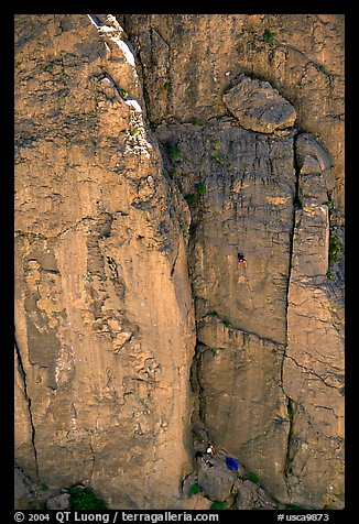 Climbers in Owens River Gorge. California, USA (color)