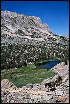 Horseback rider above Long Lake, Inyo National Forest. California, USA