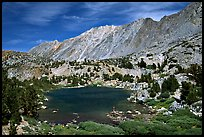 Small Lake, mountain, and fisherman, Inyo National Forest. California, USA
