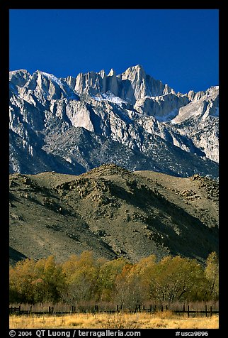 Mt Whitney, Sierra Nevada range, and foothills. California, USA (color)