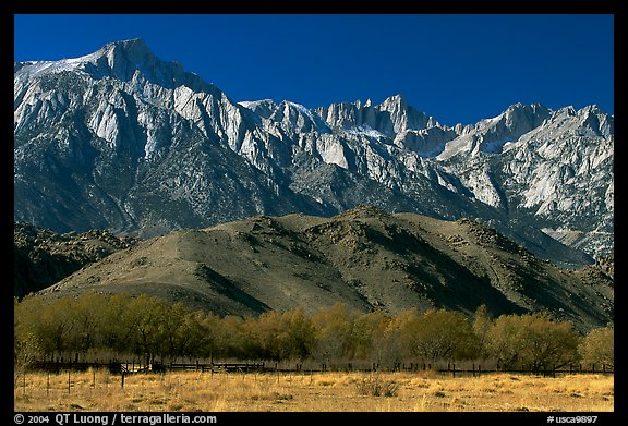 Mt Whitney, Sierra Nevada mountains, and foothills. California, USA
