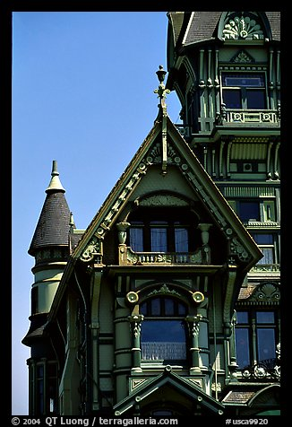 Detail of Victorian architecture of Carson Mansion, Eureka. California, USA (color)