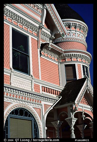 Victorian facade detail of the Pink Lady,  Eureka. California, USA (color)