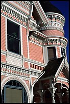 Victorian facade detail of the Pink Lady,  Eureka. California, USA ( color)