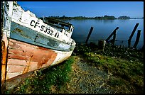 Boat and Bay near Eureka. California, USA (color)