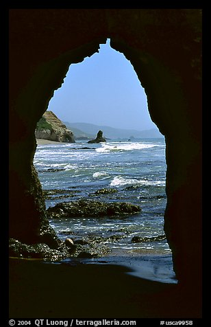 Arch near Arch Rock. Point Reyes National Seashore, California, USA (color)