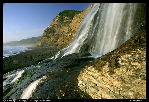 Alamere Falls flowing onto the beach. Point Reyes National Seashore, California, USA (color)