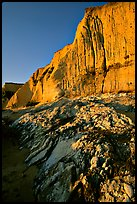Rocks and Cliff, Sculptured Beach, sunset. Point Reyes National Seashore, California, USA ( color)