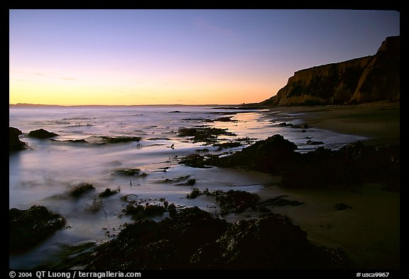 Rocks and surf, Sculptured Beach, sunset. Point Reyes National Seashore, California, USA (color)