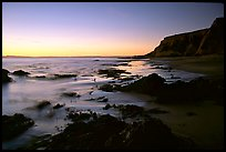 Rocks and surf, Sculptured Beach, sunset. Point Reyes National Seashore, California, USA