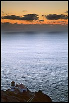 Point Reyes Lighthouse, sunset. Point Reyes National Seashore, California, USA (color)