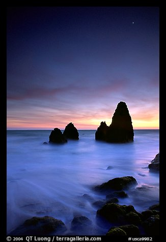 Seastacks, Rodeo Beach, Dusk. California, USA (color)