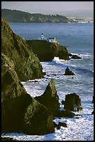 Cliffs and Point Bonita Lighthouse, late afternoon. California, USA (color)