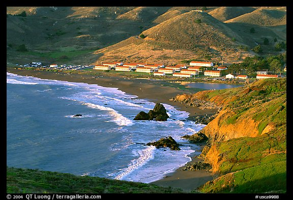 Fort Cronkhite and Rodeo Beach, late afternoon. California, USA (color)