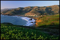 Fort Cronkhite and Rodeo Beach and hills, late afternoon. California, USA (color)