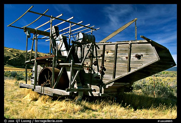 Wooden agricultural machine. California, USA (color)