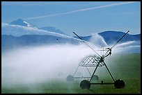 Irrigation machine and Mt Shasta. California, USA