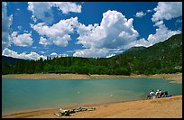 Family on the shore of Shasta Lake. California, USA (color)
