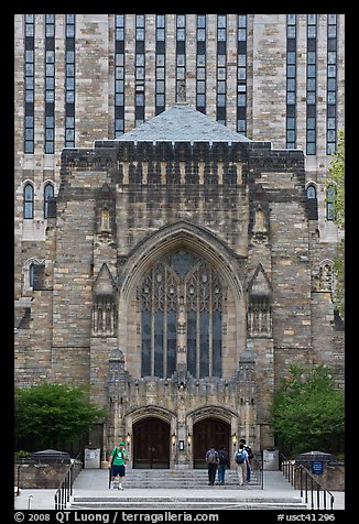 Sterling Library in gothic style. Yale University, New Haven, Connecticut, USA (color)