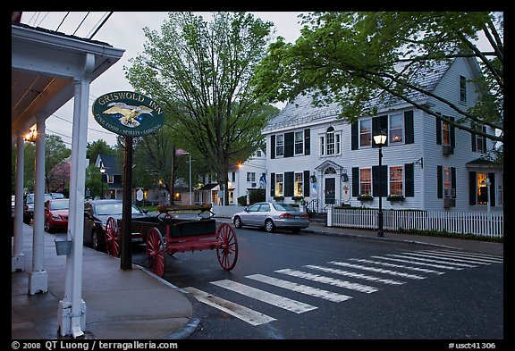 Street with historic buildings at dusk, Essex. Connecticut, USA (color)