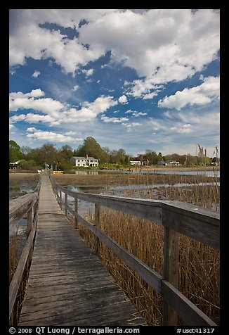 Wooden deck accross Oyster River, Old Saybrook. Connecticut, USA (color)